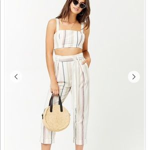 NWT F21 Striped Linen-Blend Top and Pant Set